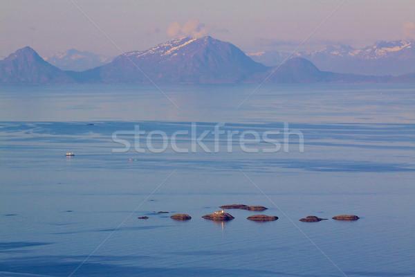 Norvég tengerpart légifelvétel tenger szigetek pontozott Stock fotó © Harlekino