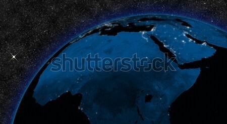 Nacht midden oosten regio stadslichten ruimte communie Stockfoto © Harlekino