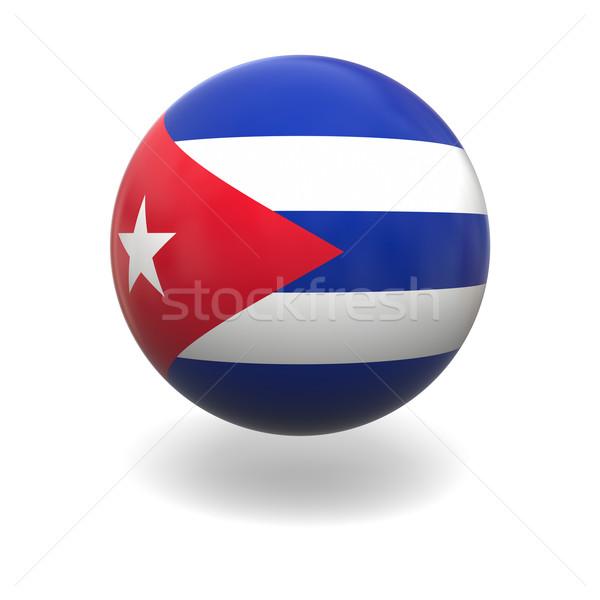 Cubano bandeira Cuba esfera isolado branco Foto stock © Harlekino