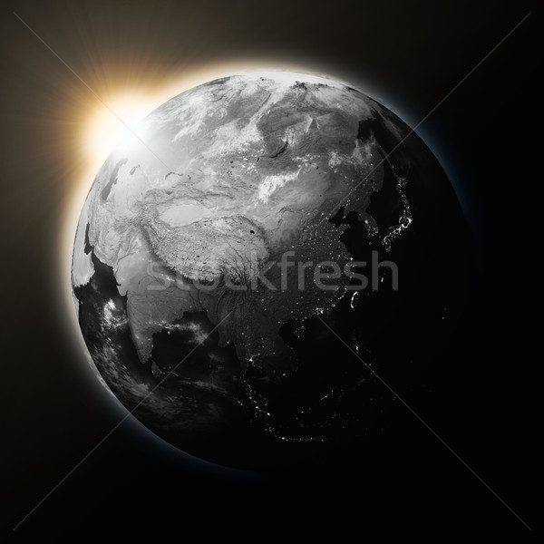 Sun over Southeast Asia on dark planet Earth Stock photo © Harlekino
