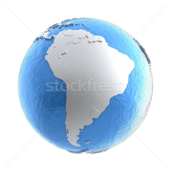 South America on silver Earth Stock photo © Harlekino