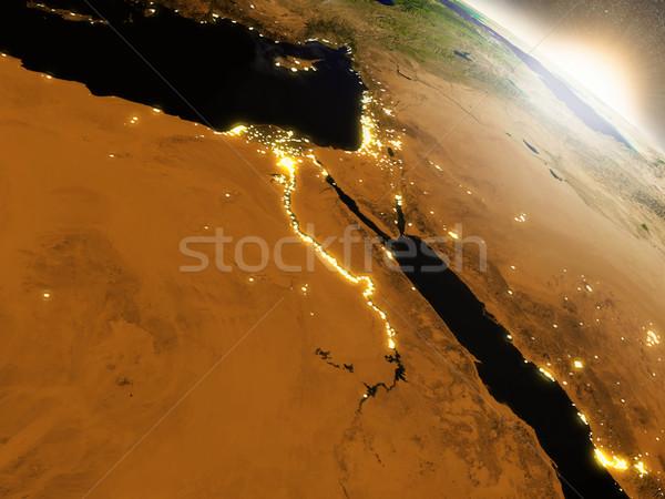 Gündoğumu Mısır bölge yörünge uzay 3d illustration Stok fotoğraf © Harlekino