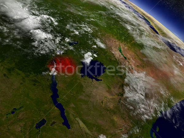 Rwanda from space highlighted in red Stock photo © Harlekino