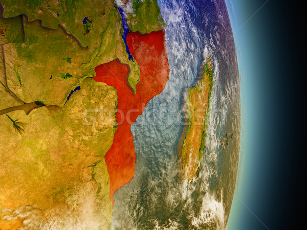 Mozambique in red from space Stock photo © Harlekino