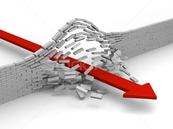 Przełom czerwony arrow murem sukces osiągnięcie Zdjęcia stock © Harlekino