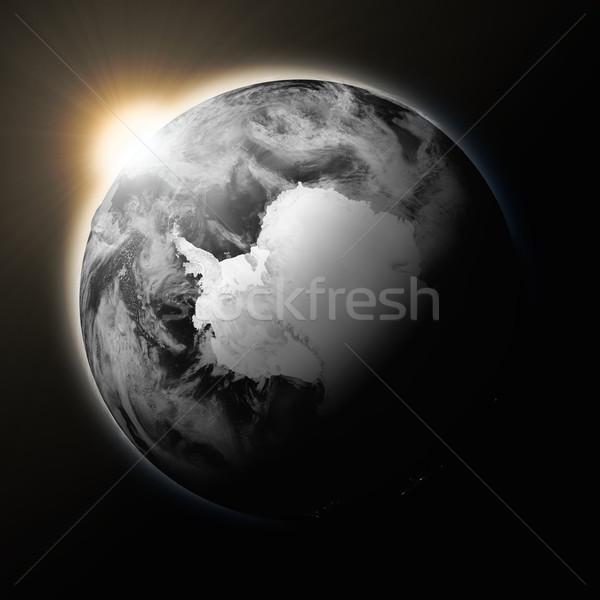 Stockfoto: Zon · donkere · aarde · geïsoleerd · zwarte