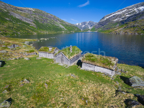 Traditional norwegian huts Stock photo © Harlekino