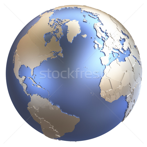 North America and Europe on metallic Earth Stock photo © Harlekino