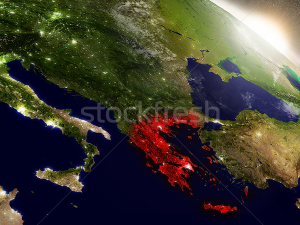 Greece from space highlighted in red Stock photo © Harlekino