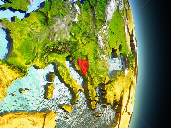 Bosnia in red from space Stock photo © Harlekino