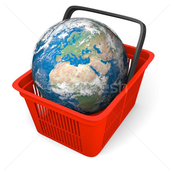 Earth in shopping basket Stock photo © Harlekino