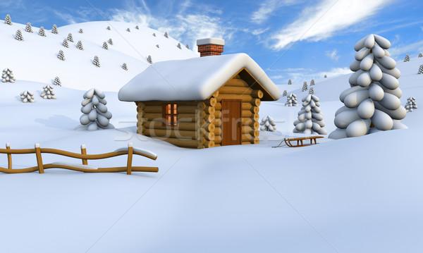 Log cabin in winter Stock photo © Harlekino