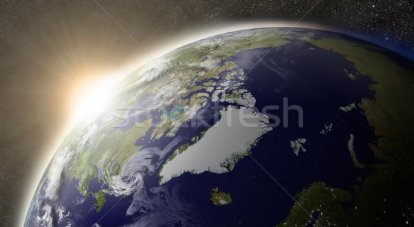 Sol ártico pôr do sol região planeta terra espaço Foto stock © Harlekino