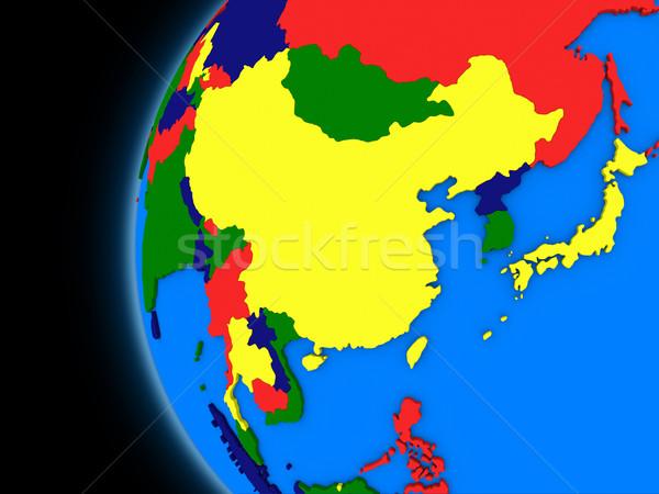 Asya bölge siyasi toprak örnek dünya Stok fotoğraf © Harlekino