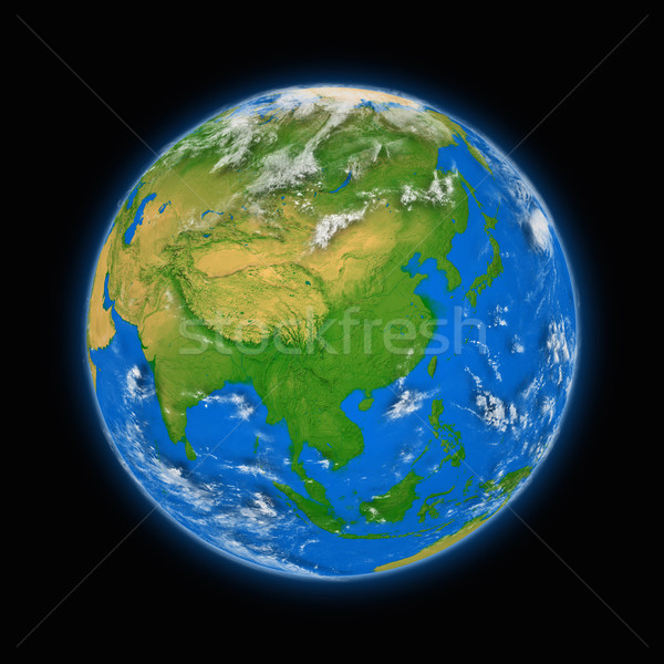 Güneydoğu asya dünya gezegeni mavi yalıtılmış siyah Stok fotoğraf © Harlekino