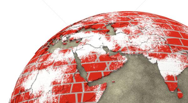 Orta Doğu tuğla duvar toprak bölge model dünya gezegeni Stok fotoğraf © Harlekino