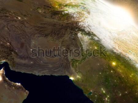Afganistan Pakistan uzay gündoğumu bölge yörünge Stok fotoğraf © Harlekino