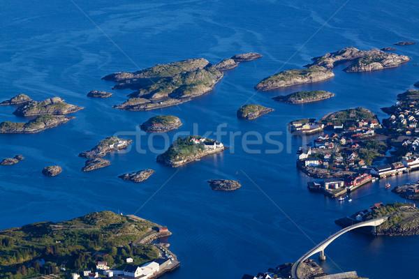 Schilderachtig stad eilanden Noorwegen bruggen Stockfoto © Harlekino