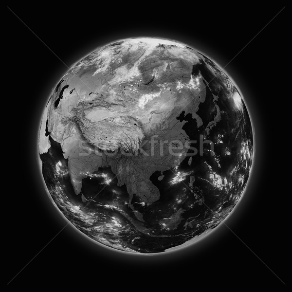 Southeast Asia on dark planet Earth Stock photo © Harlekino