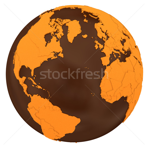 North America and Europe on chocolate Earth Stock photo © Harlekino