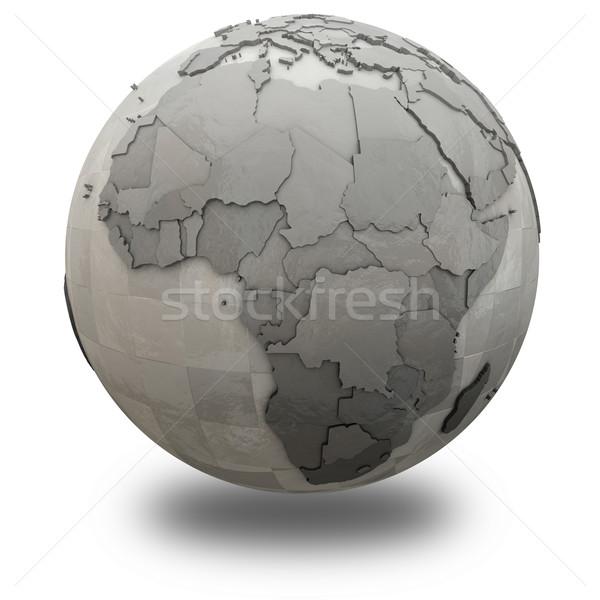 アフリカ メタリック 地球 3D モデル 鋼 ストックフォト © Harlekino