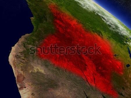 Angola from space highlighted in red Stock photo © Harlekino