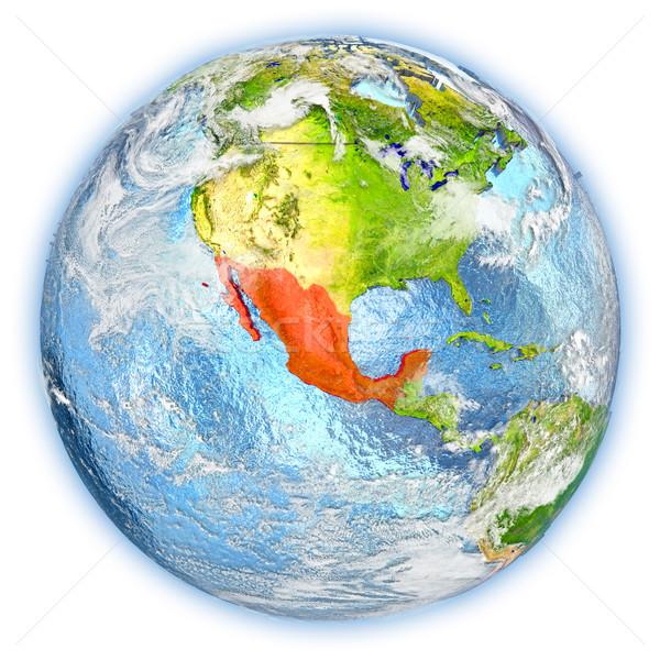 Мексика земле изолированный красный планете Земля 3d иллюстрации Сток-фото © Harlekino