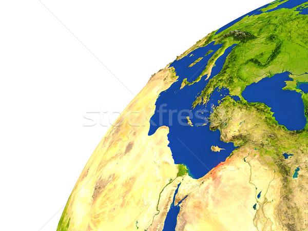Pays satellite vue rouge espace Photo stock © Harlekino