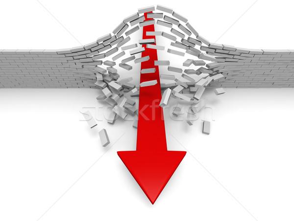 Osiągnięcie czerwony arrow murem sukces przełom Zdjęcia stock © Harlekino