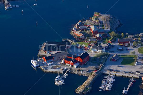 Norueguês porto típico pescaria vermelho Foto stock © Harlekino