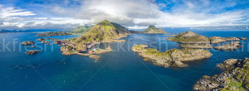 Panorama of Mortsund on Lofoten Stock photo © Harlekino