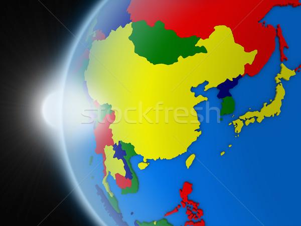 Pôr do sol Ásia região espaço planeta terra político Foto stock © Harlekino