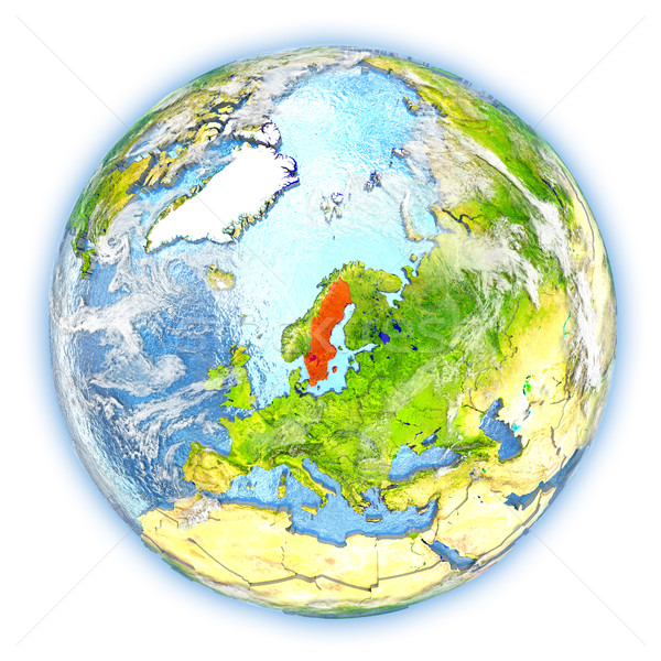 Suécia terra isolado vermelho planeta terra ilustração 3d Foto stock © Harlekino