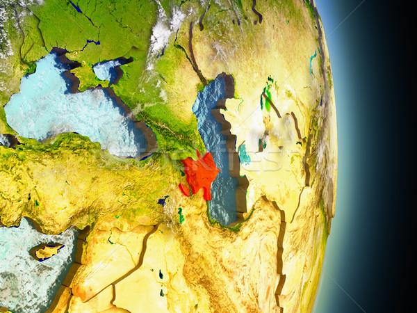 Azerbaijan in red from space Stock photo © Harlekino