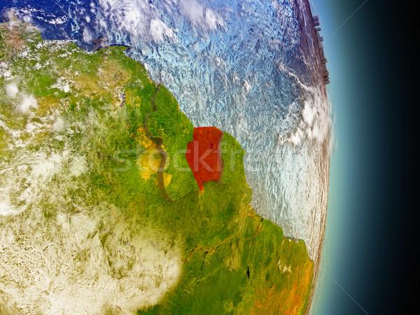 Суринам красный пространстве модель орбита 3d иллюстрации Сток-фото © Harlekino