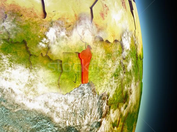 Benin rot Raum Modell Orbit 3D-Darstellung Stock foto © Harlekino