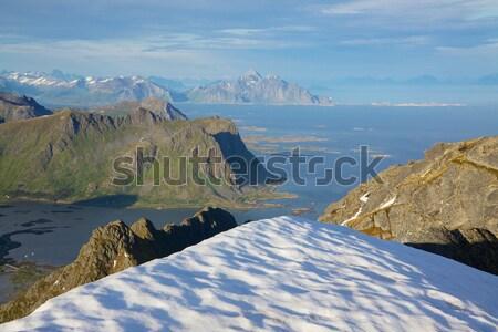 Norvég part hegyek tengerpart szigetek észak Stock fotó © Harlekino