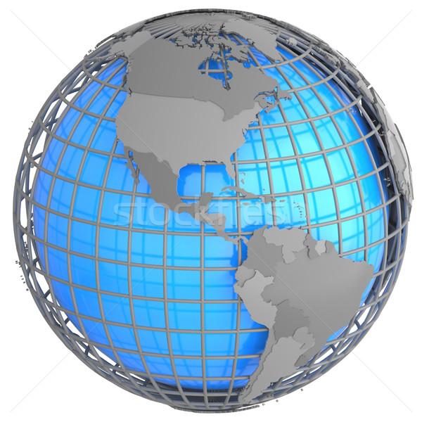 Na północ ameryka południowa ziemi szary geograficzny netto Zdjęcia stock © Harlekino