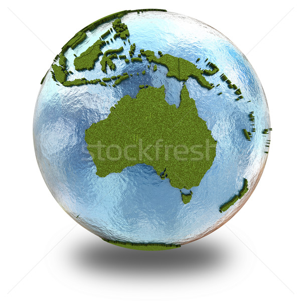 Avustralya dünya gezegeni 3D model çimenli kıtalar Stok fotoğraf © Harlekino