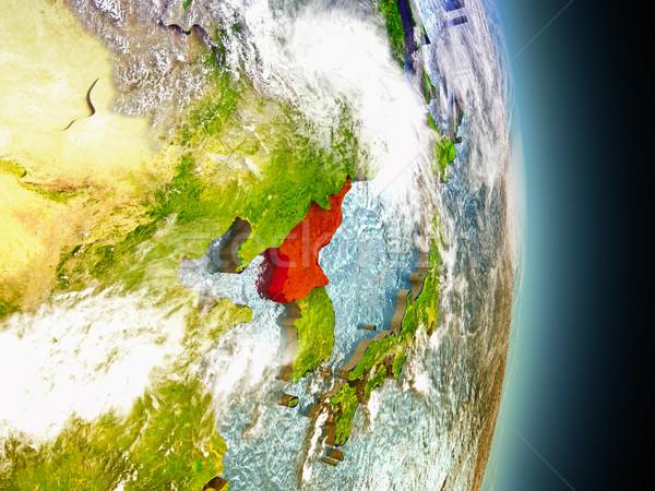 North Korea in red from space Stock photo © Harlekino