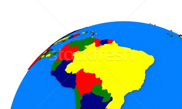Сток-фото: Южной · Америке · земле · политический · карта · мира · путешествия