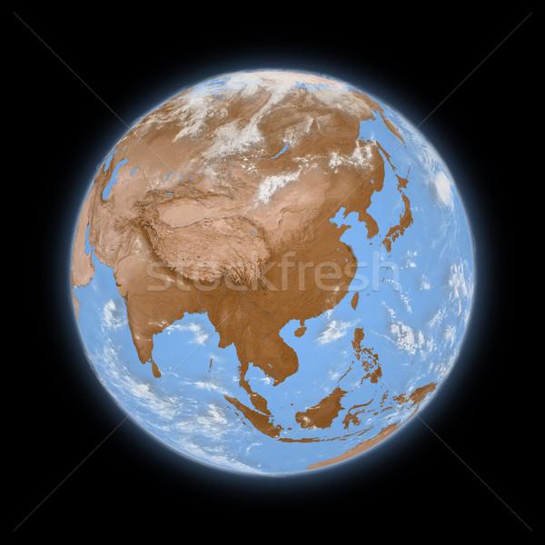 Sudeste da Ásia planeta terra azul isolado preto Foto stock © Harlekino