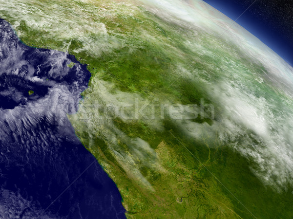 Cameroon, Gabon and Congo from space Stock photo © Harlekino