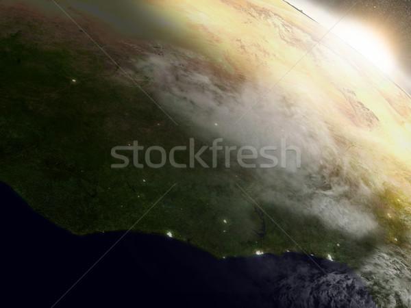 Sunrise over Ivory Coast, Ghana and Burkina Faso Stock photo © Harlekino