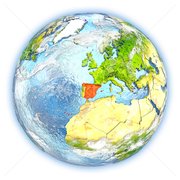 İspanya toprak yalıtılmış kırmızı dünya gezegeni 3d illustration Stok fotoğraf © Harlekino