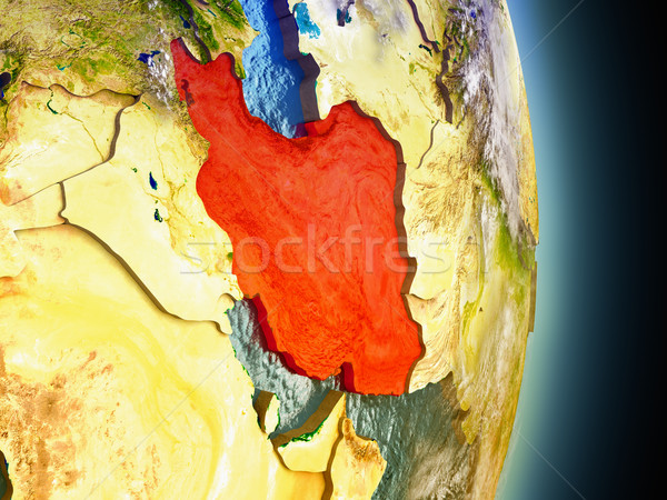 Iran in red from space Stock photo © Harlekino