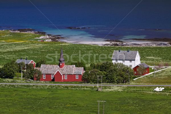 Rouge église bois célèbre repère touristiques Photo stock © Harlekino