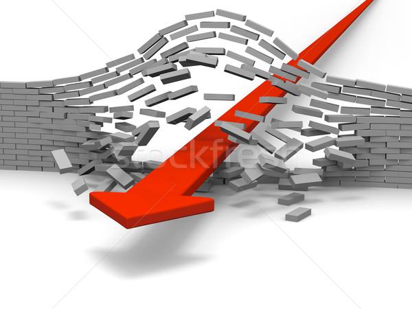 красный стрелка кирпичная стена успех прорыв достижение Сток-фото © Harlekino