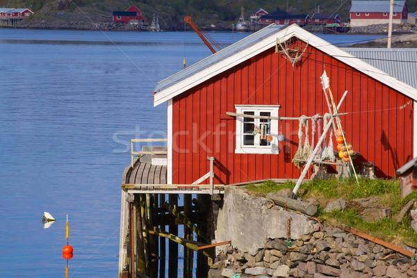 絵のように美しい 釣り 小屋 赤 海岸 島々 ストックフォト © Harlekino