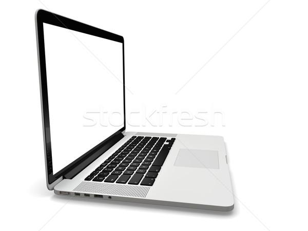 Laptop branco tela computador portátil isolado monitor Foto stock © Harlekino